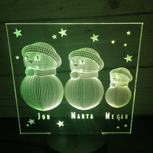 Load image into Gallery viewer, Snowman family LED light up display- 9 colour options with remote - Laser LLama Designs Ltd