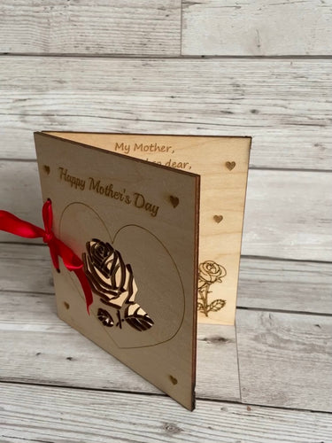 Wooden personalised Mother's Day card - Laser LLama Designs Ltd