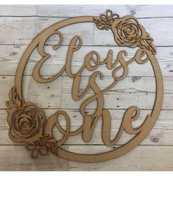 Floral hoop with name- any message can be added - Laser LLama Designs Ltd