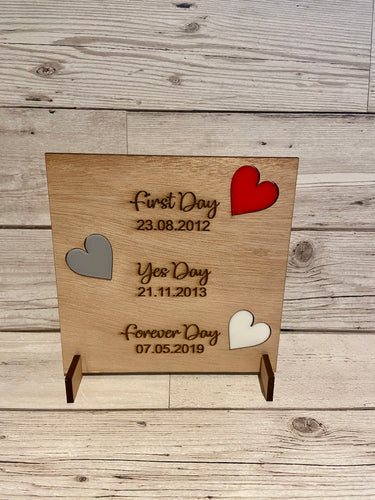 Wooden Personalised First Day, Yes Day Plaque - Laser LLama Designs Ltd