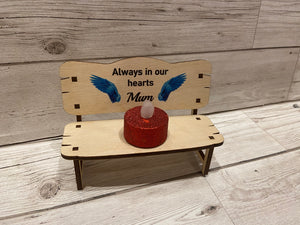Wooden personalised printed memorial wings bench