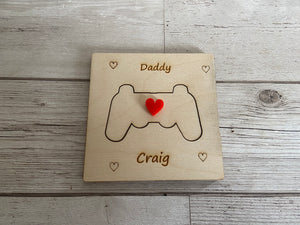 Wooden personalised 3D game controller card - Laser LLama Designs Ltd