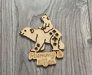 Mdf personalised mummy & cub bear bauble - Laser LLama Designs Ltd
