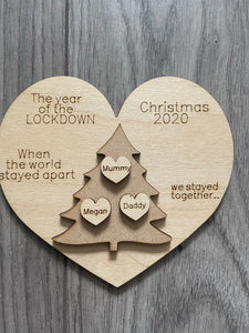 Wooden personalised Christmas tree lockdown plaque