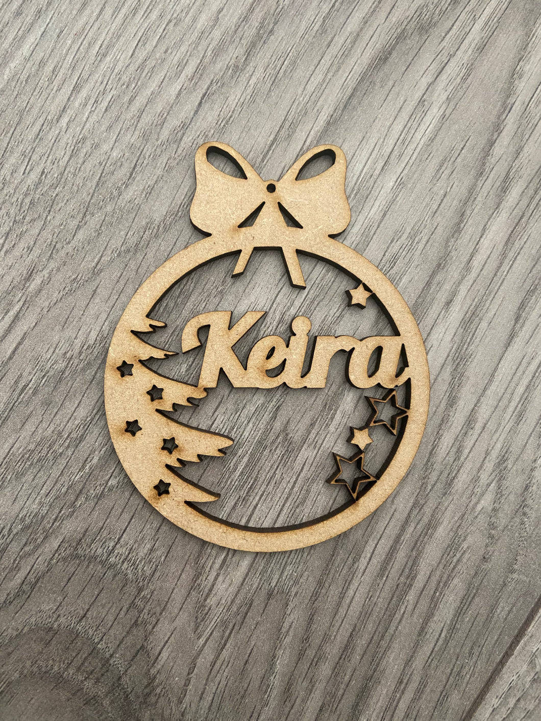 Wooden bauble tree decoration - Laser LLama Designs Ltd