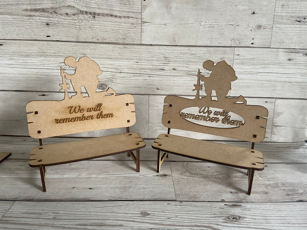 Wooden memorial soldier bench - Laser LLama Designs Ltd