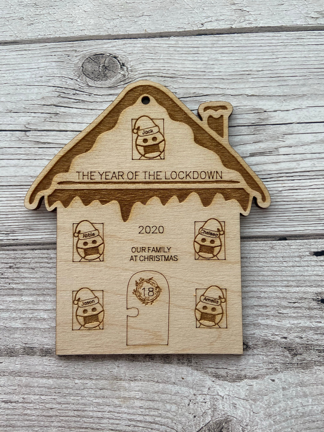 Wooden personalised house lockdown bauble