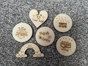 Wooden engraved pocket hug token - 6 designs - Laser LLama Designs Ltd