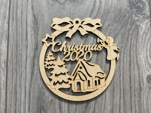 Christmas 2020 mdf bauble -angel & snowflake - Laser LLama Designs Ltd