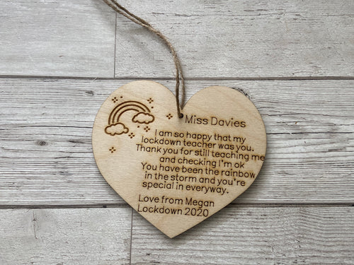 Wooden personalised rainbow teacher plaque - Laser LLama Designs Ltd