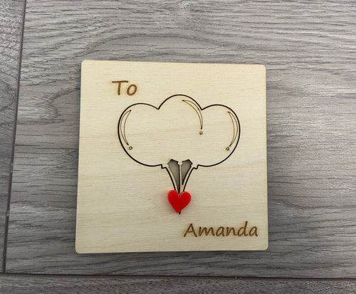 Wooden personalised 3d birthday card -balloons