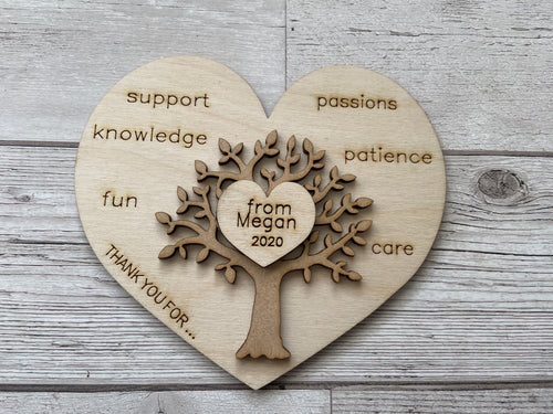 Wooden personalised plaque thank you for - Laser LLama Designs Ltd