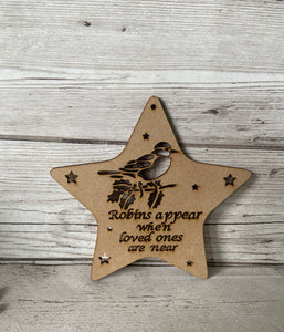 "Mdf ""robins appear ""star bauble"