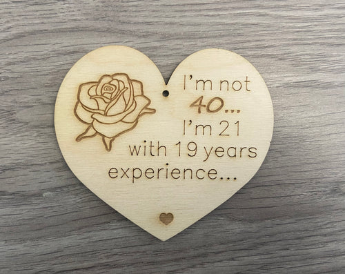 Wooden birthday rose plaque