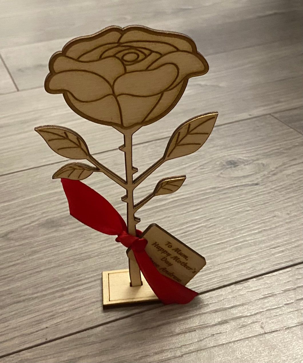 Wooden personalised freestanding rose