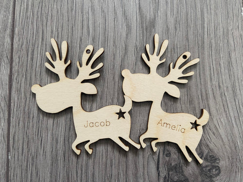 Wooden personalised reindeer with star