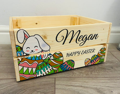 Wooden personalised Easter bunny crate