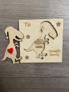 Wooden personalisation 3d dinosaur card