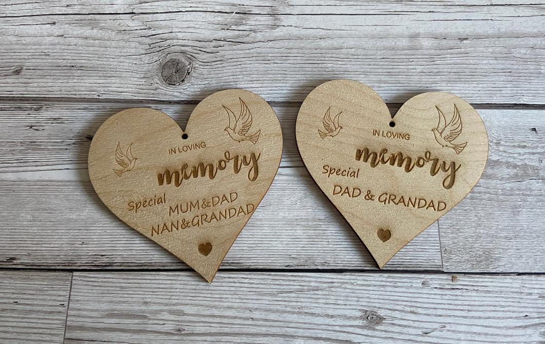 Wooden memorial hanging heart - Laser LLama Designs Ltd