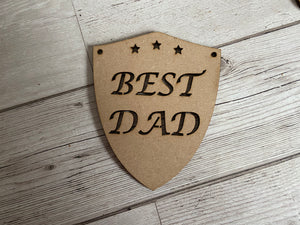 Wooden best dad shield - Laser LLama Designs Ltd
