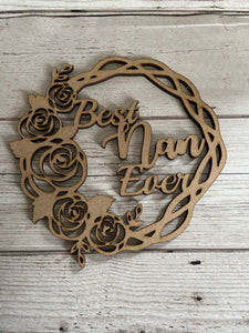 Wooden mdf floral wreath - Laser LLama Designs Ltd