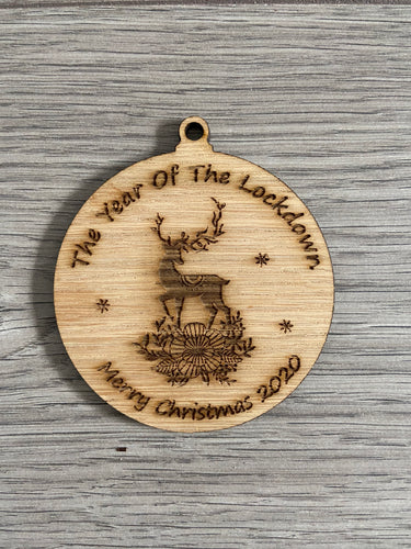 A year of the lockdown oak veneer bauble
