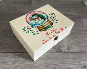 Wooden printed personalised Christmas Eve box -snow globe
