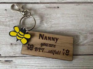 Personalised beeutiful keyring - Laser LLama Designs Ltd