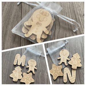Wooden DIY Christmas activity pack of 4 shapes