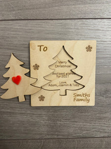 Wooden personalised 3d Christmas tree card