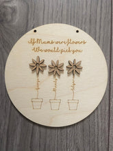 Load image into Gallery viewer, Wooden personalised flowers plaque