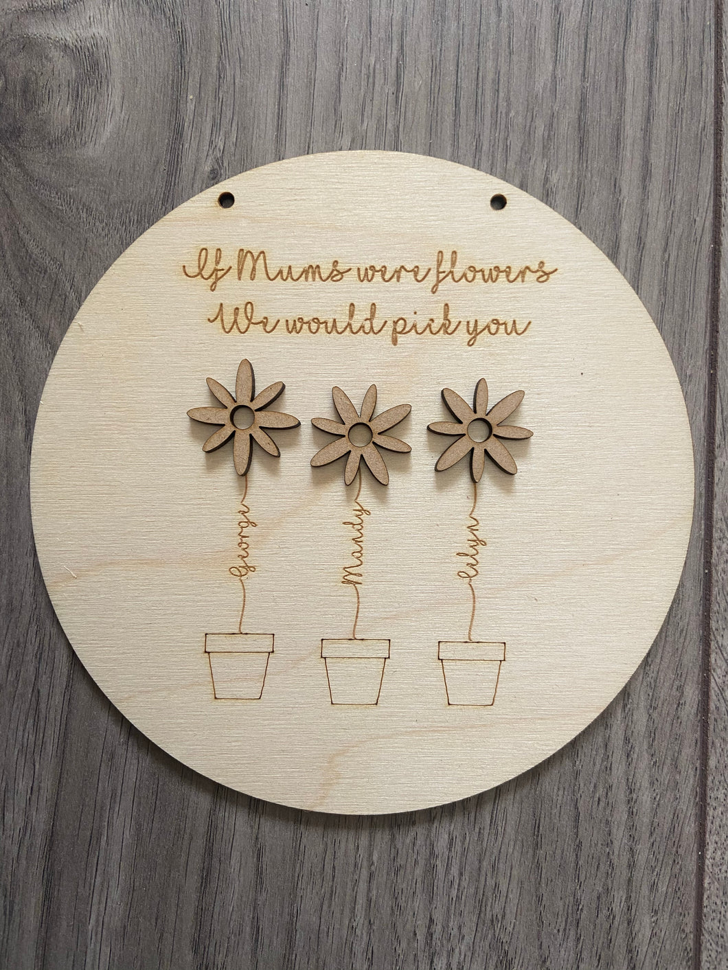 Wooden personalised flowers plaque