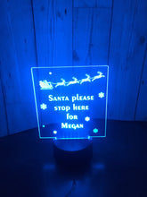 Load image into Gallery viewer, Santa please stop here LED light  up display- 9 colour options with remote! - Laser LLama Designs Ltd