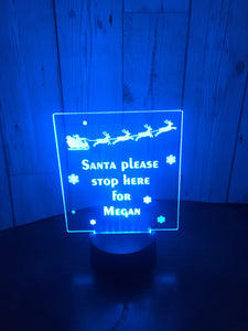 Santa please stop here LED light  up display- 9 colour options with remote! - Laser LLama Designs Ltd