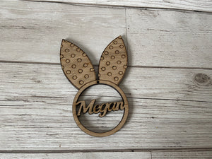 Oak veneer bunny ears hanging decoration - Laser LLama Designs Ltd