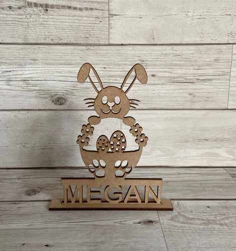 Wooden personalised freestanding bunny - Laser LLama Designs Ltd