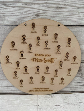 Wooden personalised teacher class plaque -little people