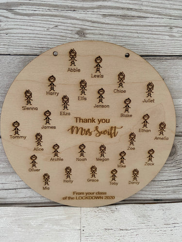 Wooden personalised teacher class plaque -little people - Laser LLama Designs Ltd