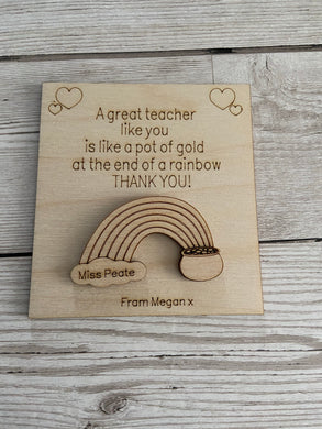 Wooden personalised card for teacher with fridge magnet or keyring