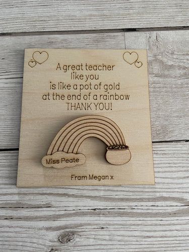 Wooden personalised card for teacher with fridge magnet or keyring - Laser LLama Designs Ltd
