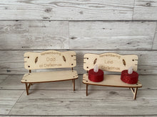 "Load image into Gallery viewer, Wooden birch bench ""remembering at Christmas """