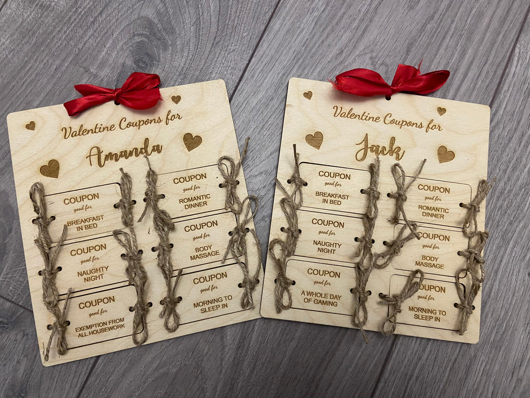 Wooden personalised valentine coupons