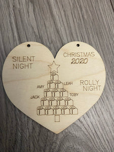 Wooden personalised silent night rolly night plaque
