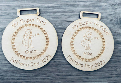 Wooden personalised Father's Day medal