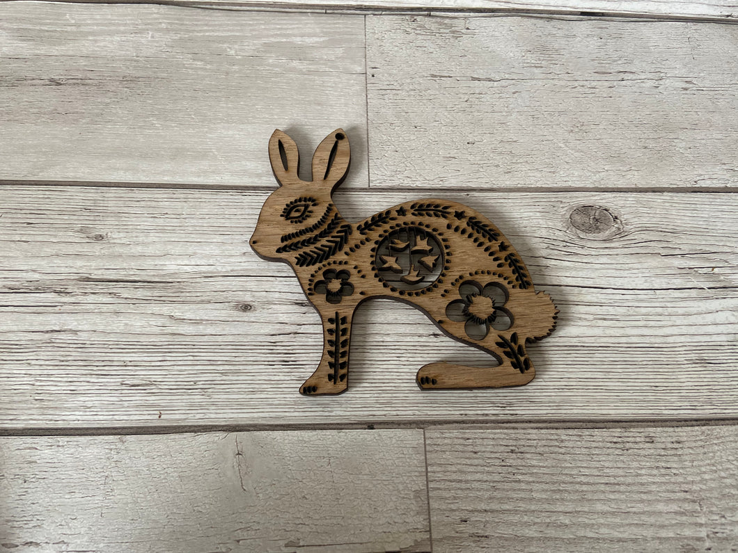 Oak veneer bunny rabbit - Laser LLama Designs Ltd