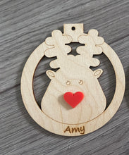 Load image into Gallery viewer, Wooden personalised red/green nose reindeer bauble