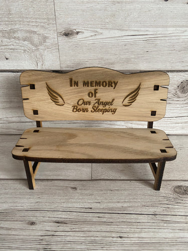 Oak veneer memorial bench- engraved with wings - Laser LLama Designs Ltd