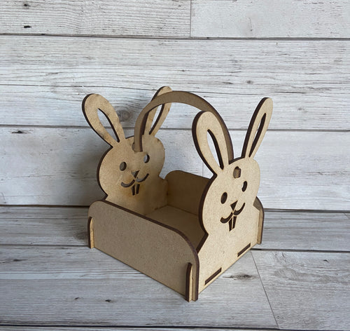 Wooden Easter bunny basket - Laser LLama Designs Ltd