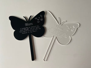 Memorial grave marker -butterfly shape - Laser LLama Designs Ltd
