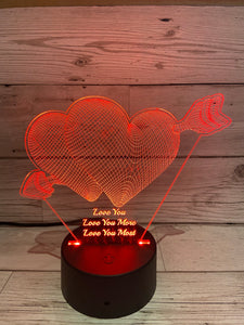 Light up 3D  heart with arrow display. 9 Colour options with remote! - Laser LLama Designs Ltd